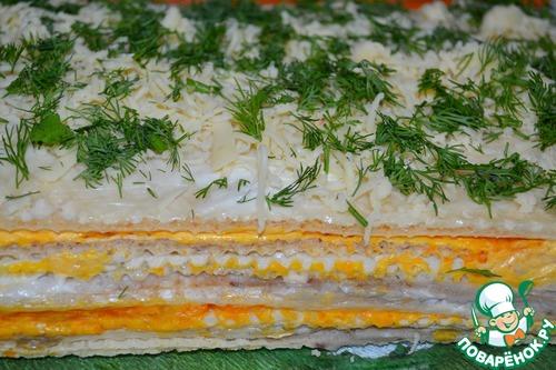 Селедочный торт на вафельных коржах - ни один гость не ушел, не попросив этот рецепт...