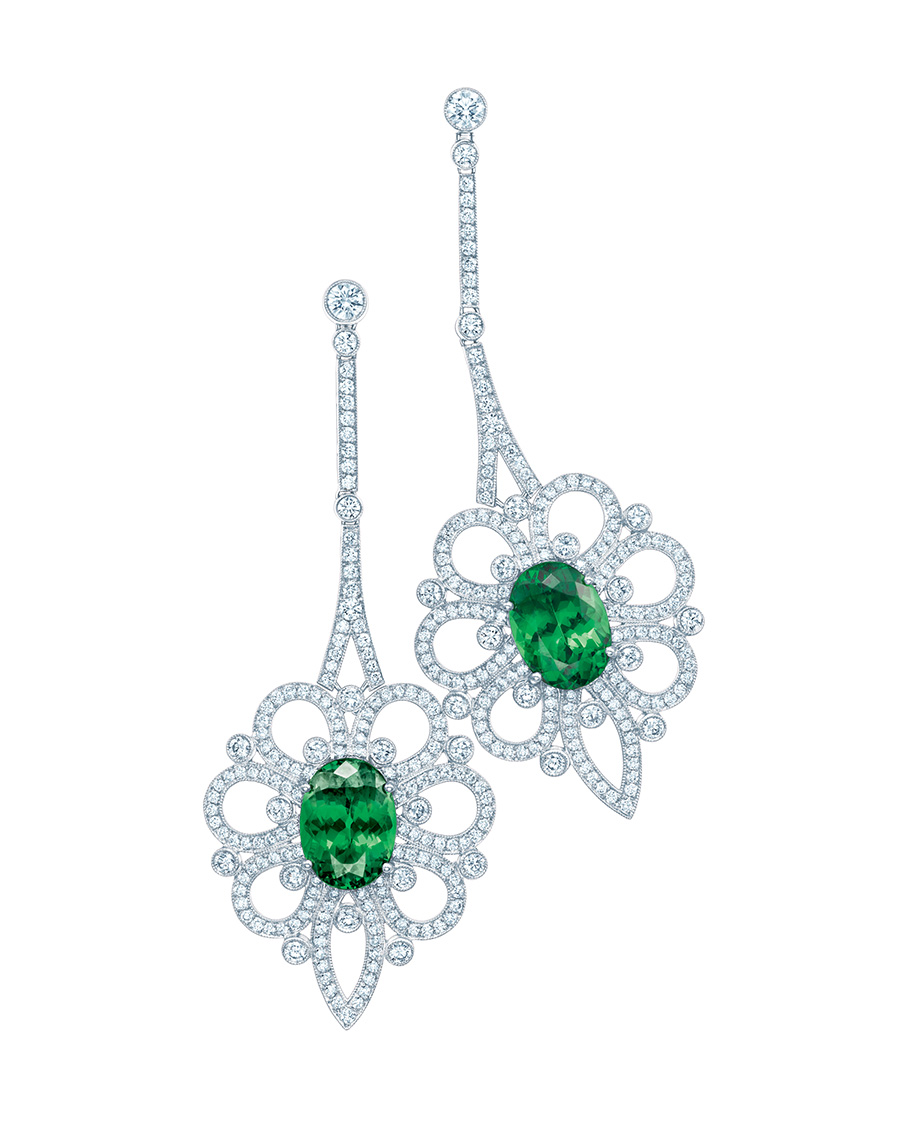 Tiffany tsavorite earrings with an openwork moti