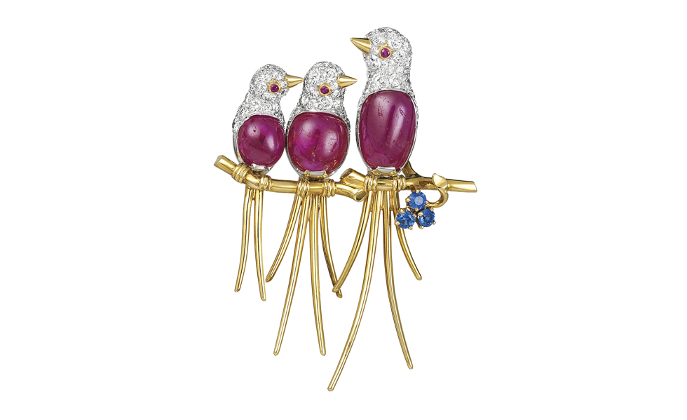 Van Cleef & Arpels Lovebirds clip Gold, rubies,