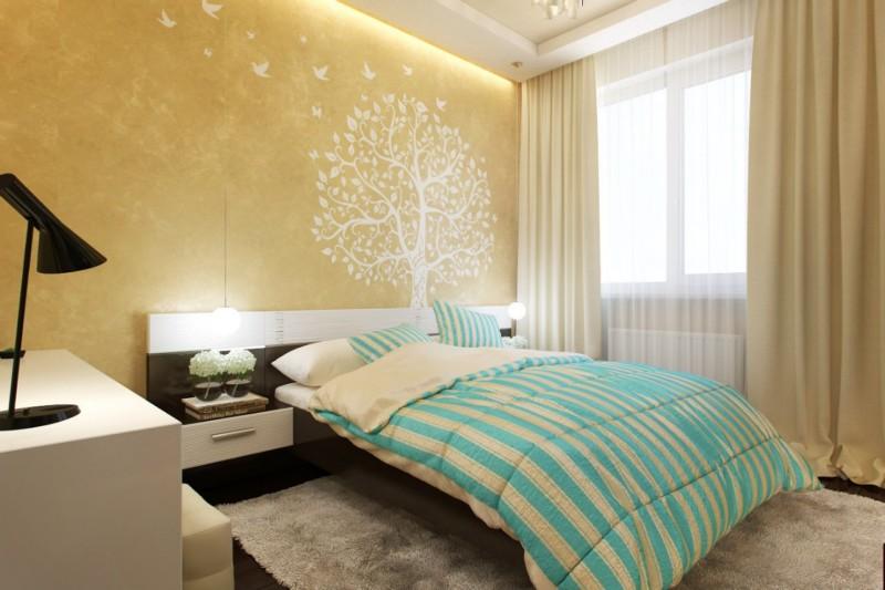 кремовый цвет в спальне