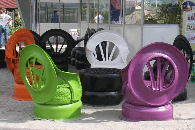Что можно сделать из шины для сада