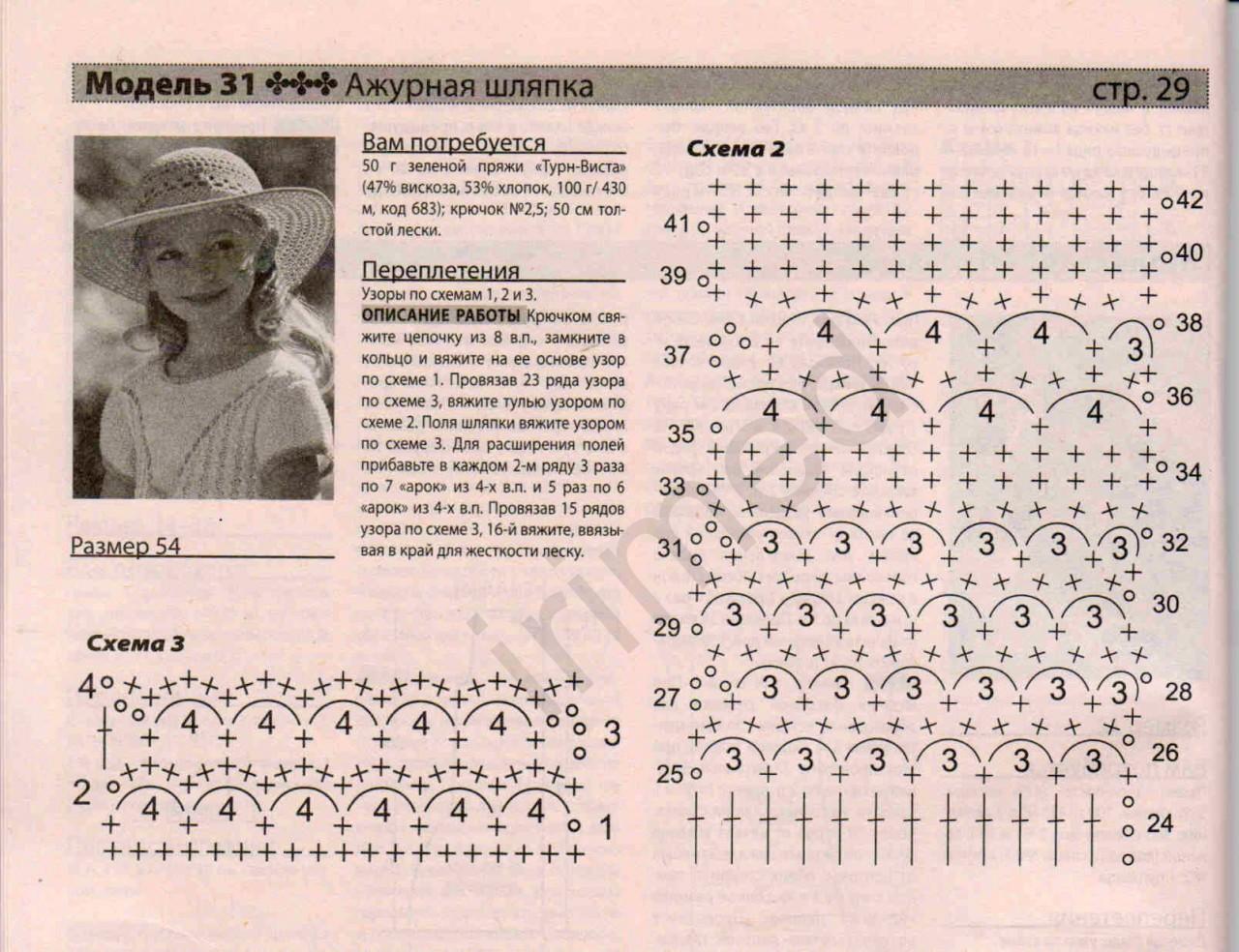 Схема узора вязание крючком летних шляпок 935