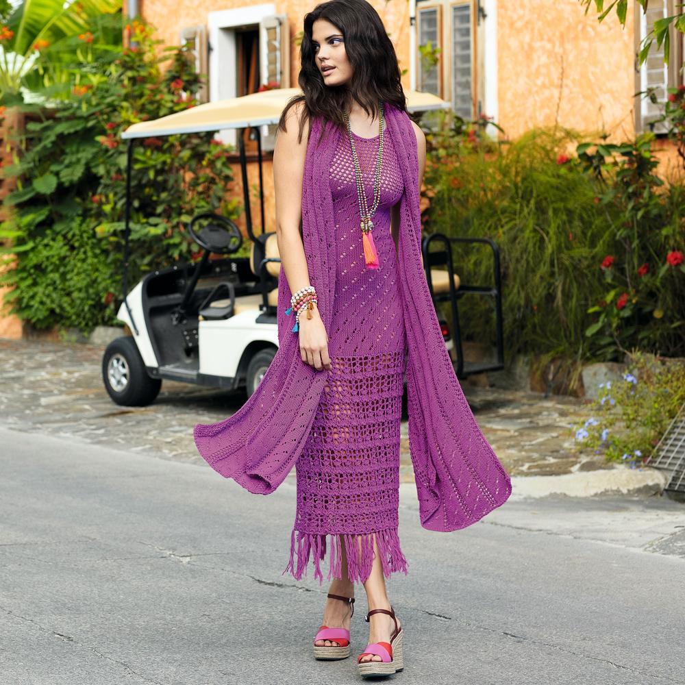 Вязаный комплект: платье+шарф
