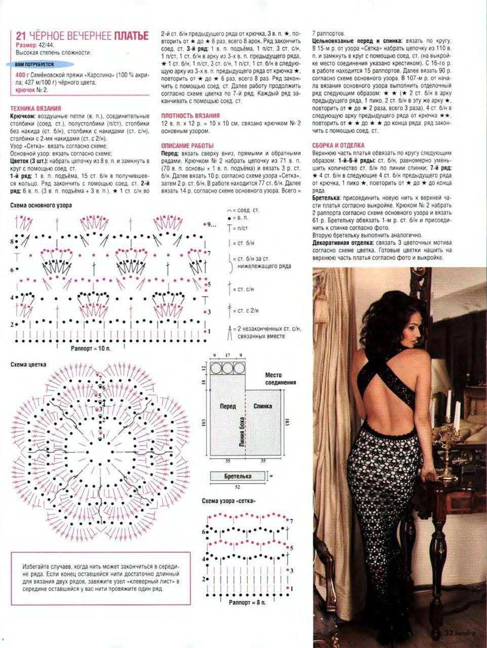 Вечернее платье вязаное крючком со схемами и описанием
