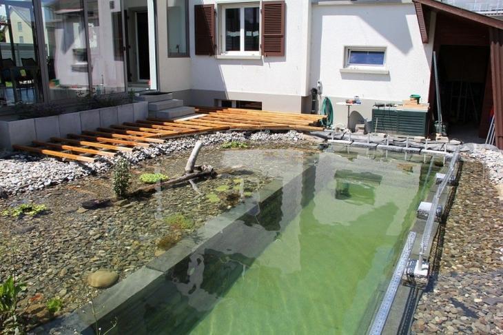 бассейн на заднем дворе, бассейн своими руками, бассейн дома