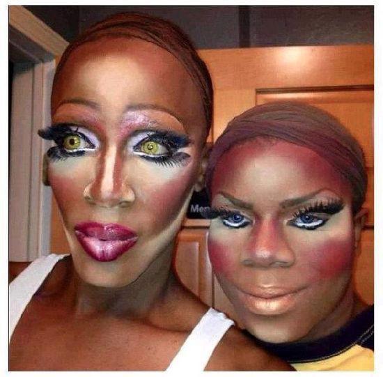 Эти девушки просто хотели быть красивыми, но что-то пошло не так Адский макияж, Жертвы макияжа, девушки, прикол, юмор