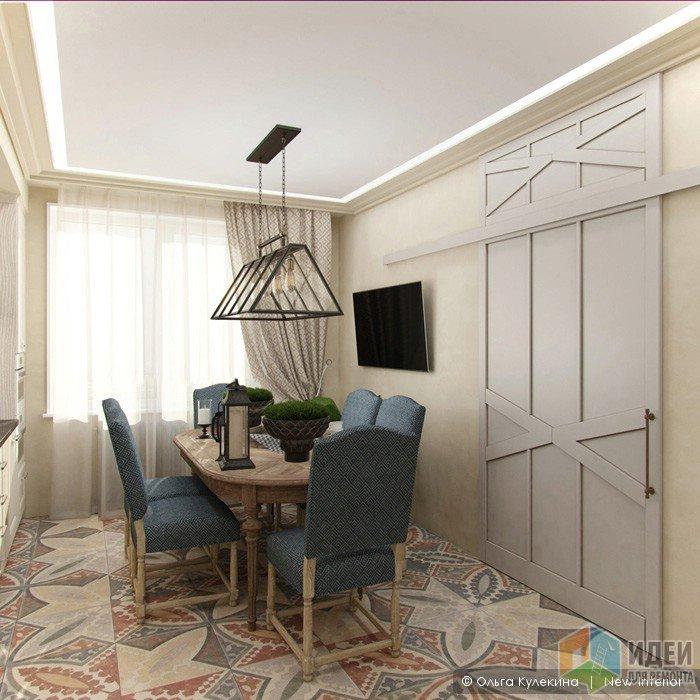 Интерьер кухни, светильник в обеденной зоне, раздвижная дверь