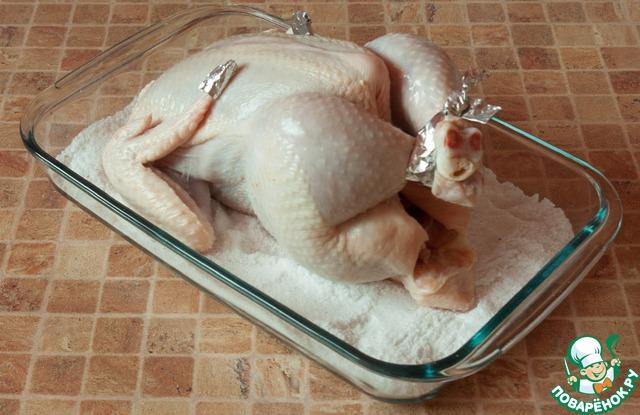 курица в духовке на соли рецепт с видео