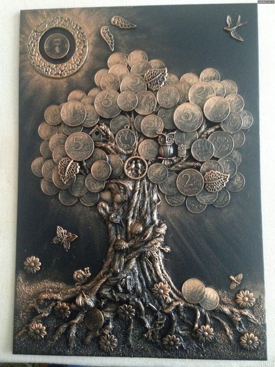 Денежное дерево монетки, поделка