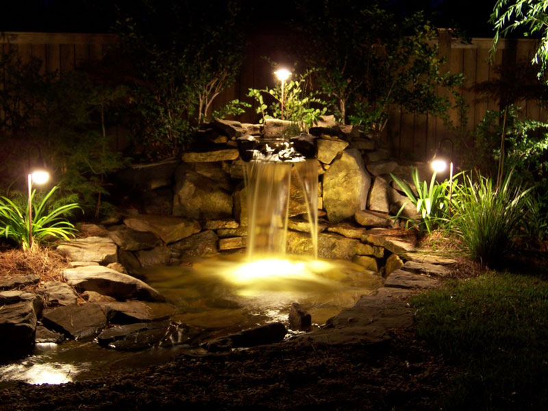 Garden lighting ideas with small pond