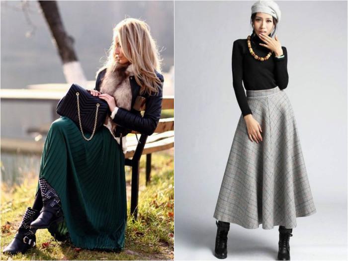 Как одеться с длинной юбкой