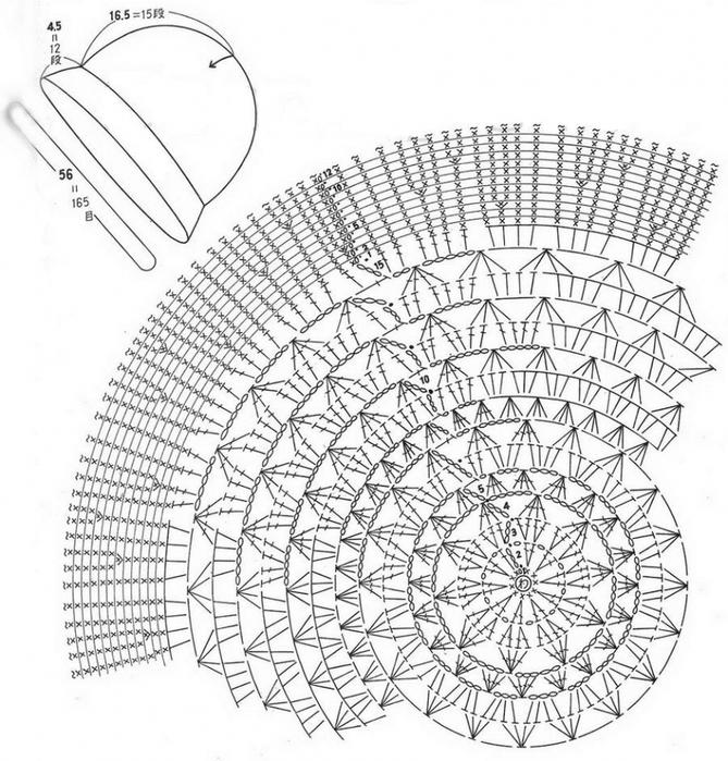 Ажурное вязание шляпки крючком 249