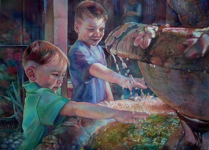Город, где живёт улыбка детства остаётся в сердце навсегда!  Акварель / Jeannie Vodden