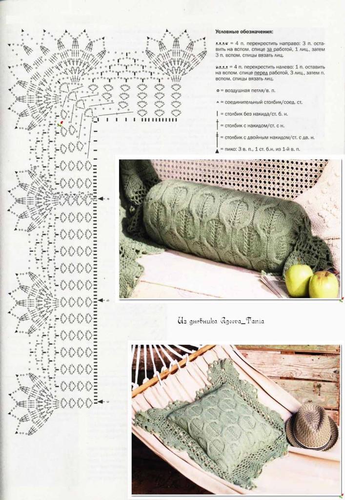 Вязание спицами подушки на диван схемы с подробным описанием 99