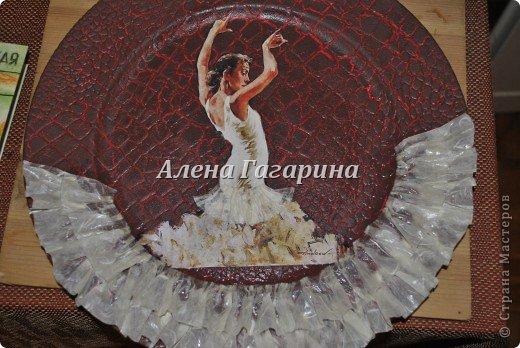 Декор предметов Мастер-класс Декупаж Тарелка Фламенко Бумага фото 27