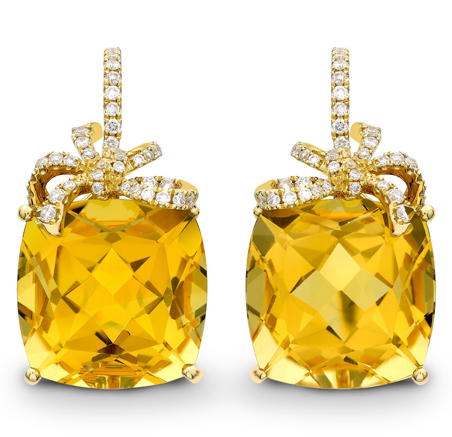 citrine and diamond cushion bow earringsmainpic