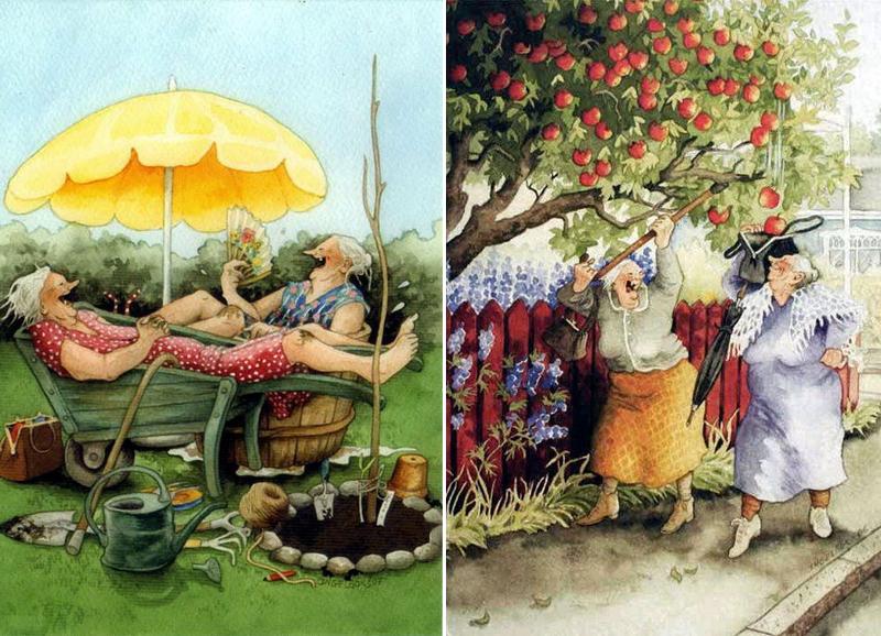 финская художница inge look серия старушки хохотушки