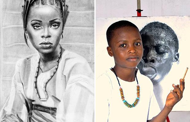 Юный художник из Нигерии рисует поразительные портреты