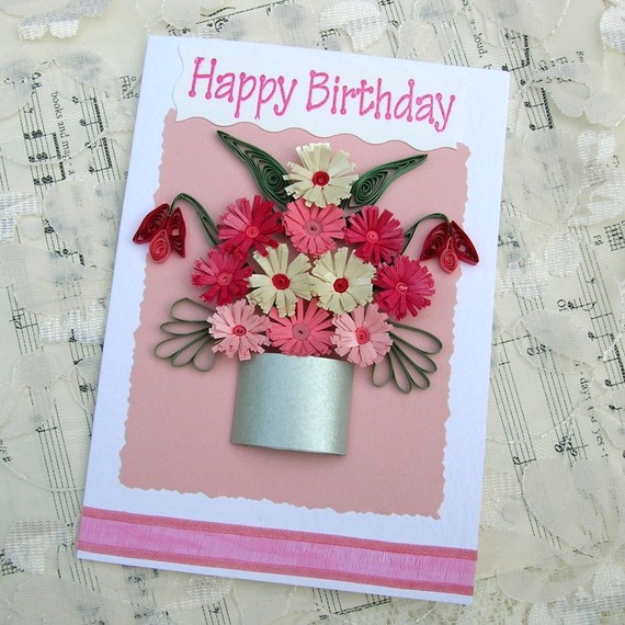 Paper Quilled Silver POT of PINK and Fuchsia Fringed FLOWERS  Handmade Greeting Card by Enchanted Quilling on Etsy