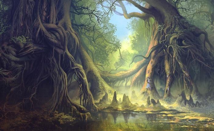 Скачать арт, лес, фантастический мир, корни, пруд, озеро, гигантские, фото, обои, картинка #12421480 - a-matata.ru