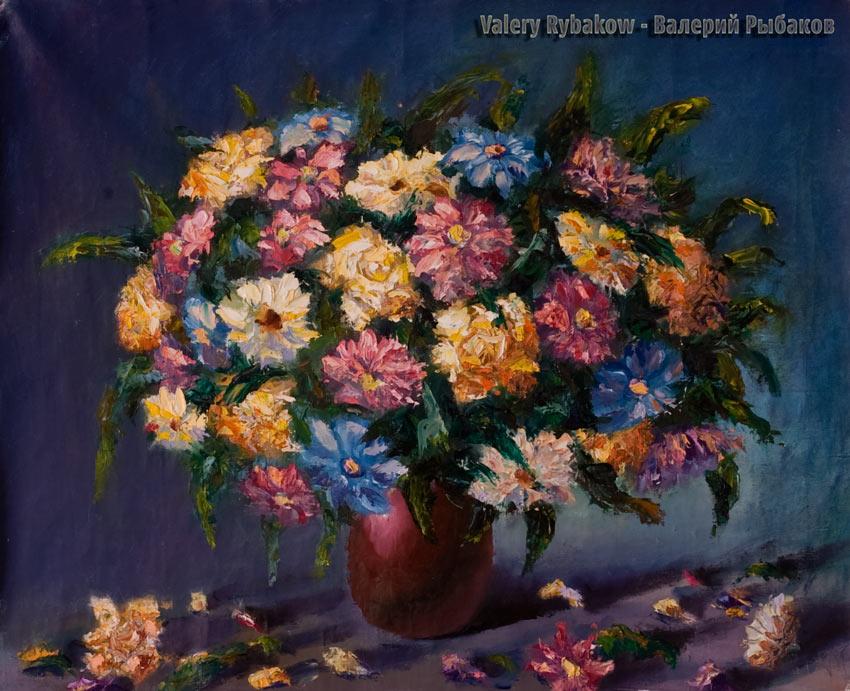 Пышный букет цветов - картина малом и мастихином.