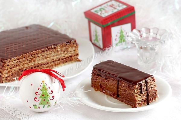 Рецепт шоколадного вафельного торта