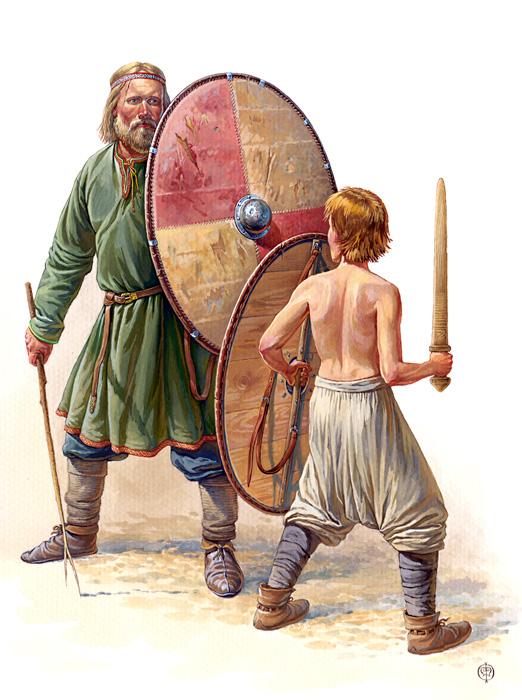 Обучение мальчика обращению с мечом и щитом, X век.  По материалам древнерусских и скандинавских погребений.