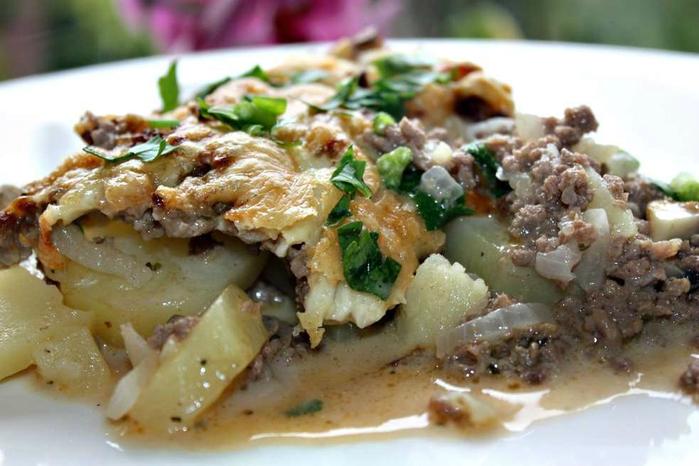Картофельная запеканка с фаршем и грибами в духовке рецепт с фото пошагово