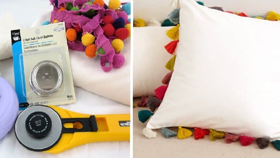 Стильная идея для украшения комнаты: оригинальная подушка с помпонами