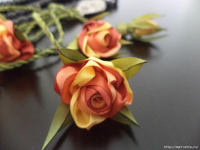 Миниатюрные цветы из ленточек. Мастер-классы (19) (700x525, 214Kb)