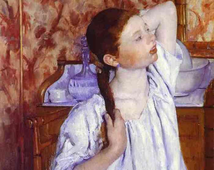 Мэри Кассат. Девочка, причесывающая свои волосы, 1886. Фрагмент