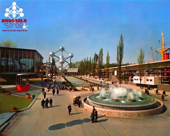 Выставка 1958 года на старой фотографии. /Фото:ilotsacre.be
