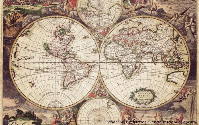 фрескаDrawn Map Of The World (700x437, 382Kb)