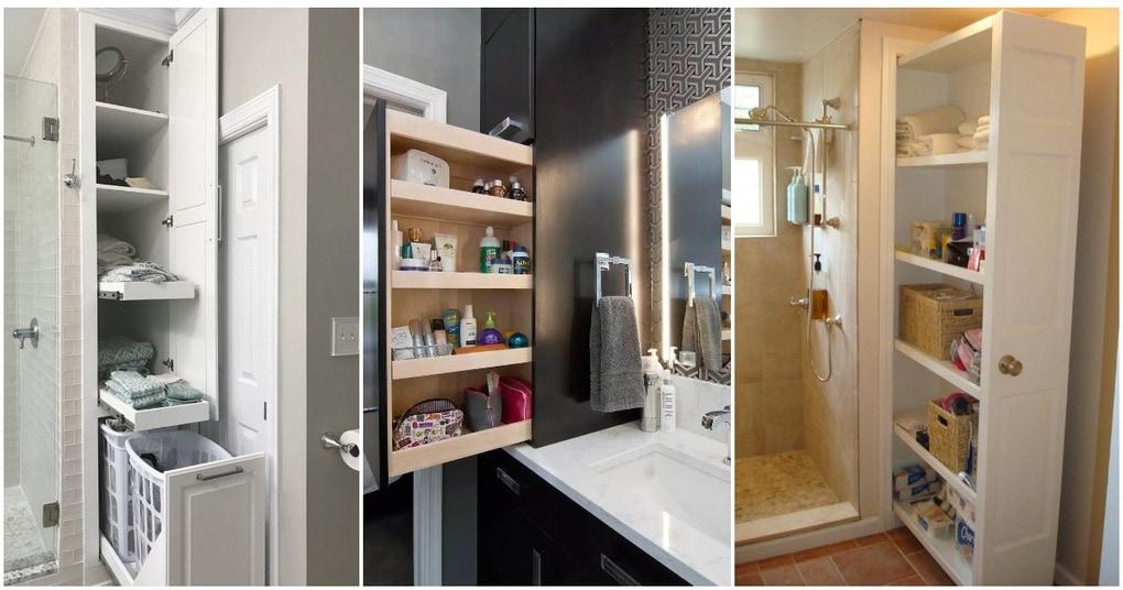 Идеи выдвижных полок для хранения в ванной