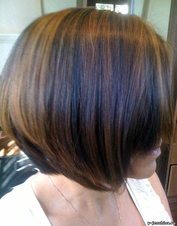 Мелирование на черные волосы каре фото