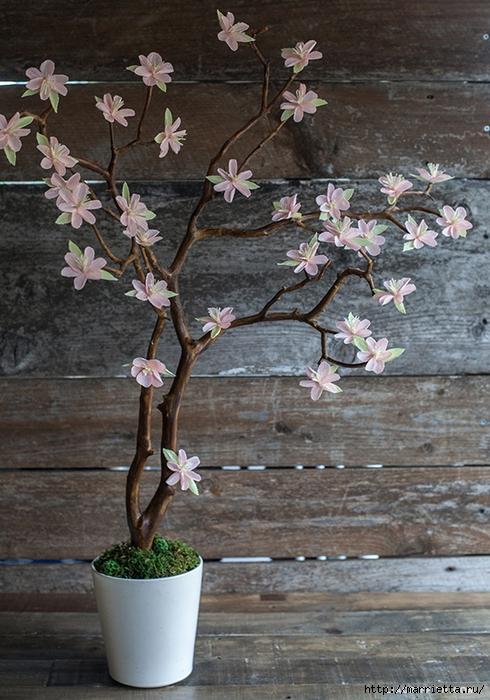 Сделать цветочное дерево своими руками фото