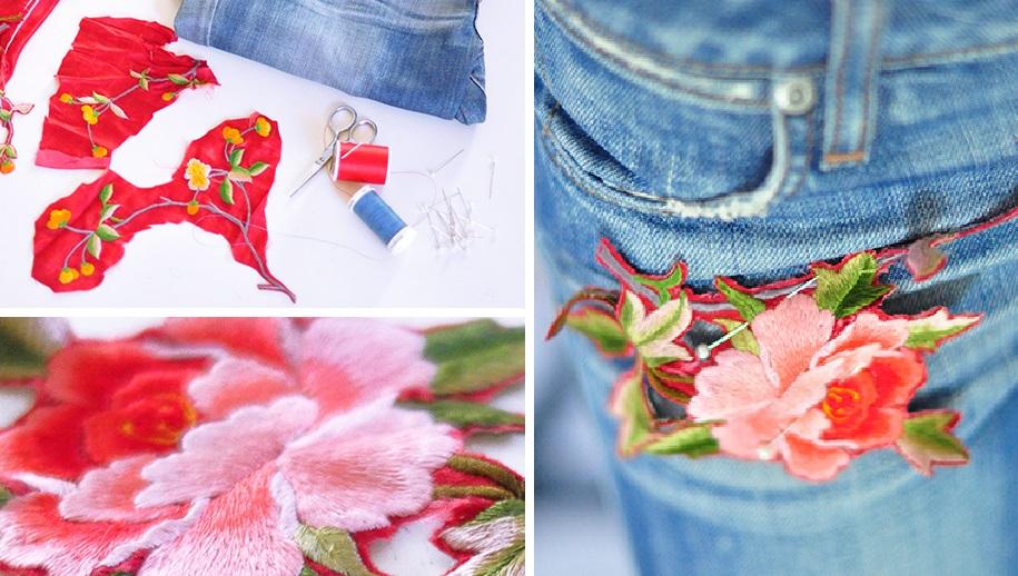 Идея от модных дизайнеров: джинсы с аппликацией