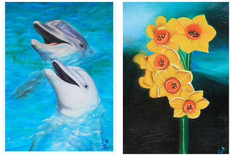 Ее картины в основном сосредоточены вокруг темы природы и окружающей среды. инвалид, история, сила духа, художница
