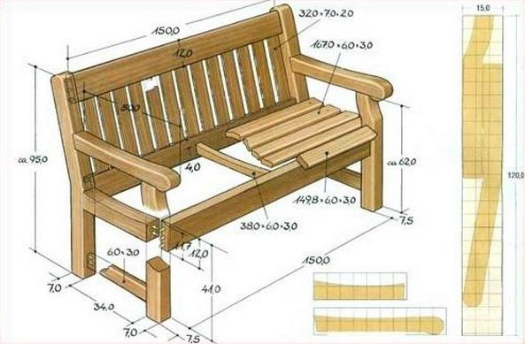 Скамейки садовые из дерева