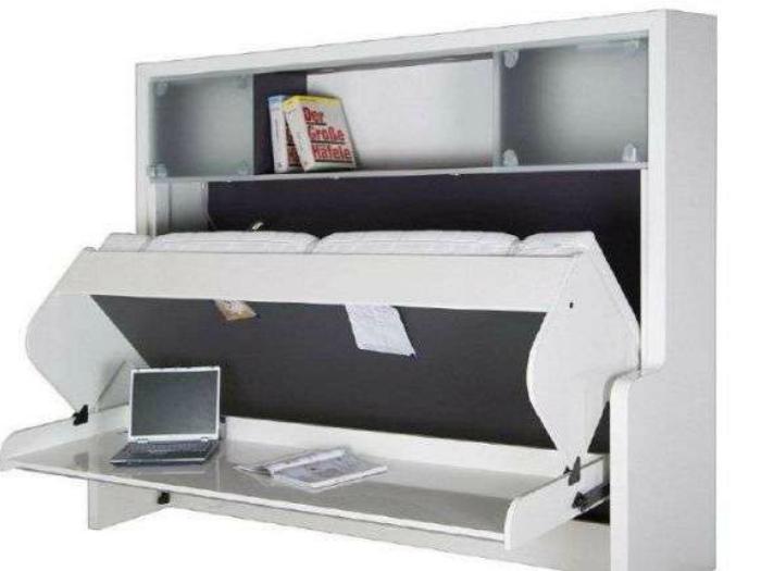 Компьютерный стол, объединенный с полочкой легко трансформируется в диван.