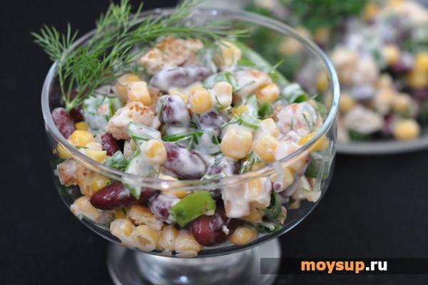 Салаты с фасолью и кириешками рецепты с