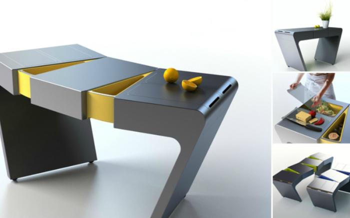 Небольшой кухонный стол оборудован скрытыми секциями и шкафчиками.