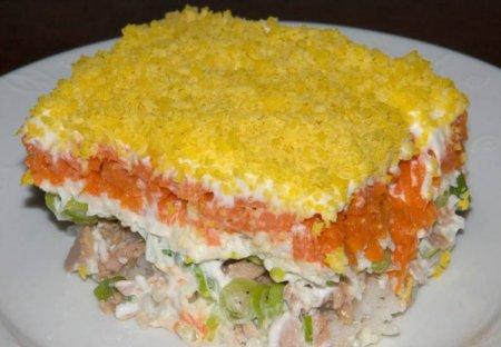 Простой салат из рыбных консервов «Мимоза»
