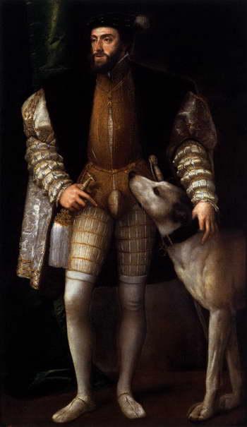 Тициан. Портрет императора Карла V с собакой. 1533