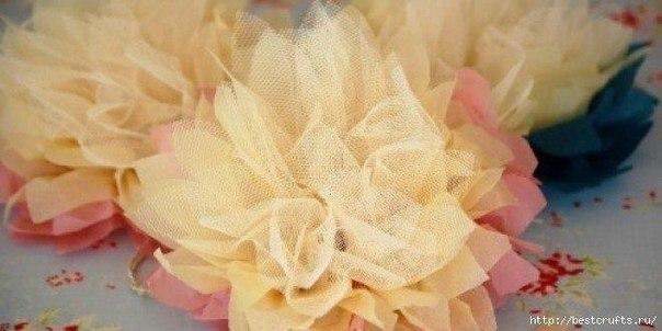 Цветок из фатина. МК.