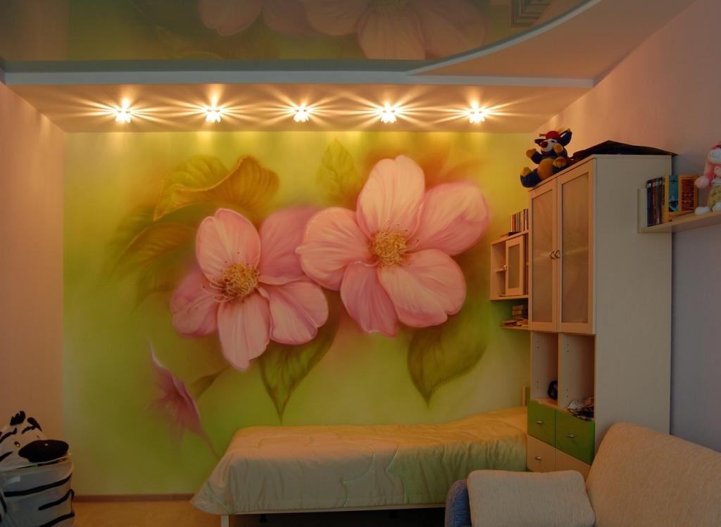 Цветы рисунки на стенах