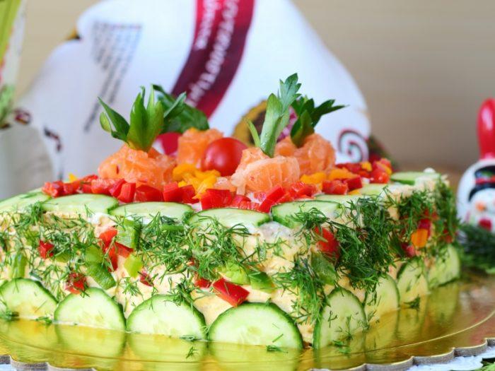 Праздничный закусочный торт - просто, вкусно и эффектно!