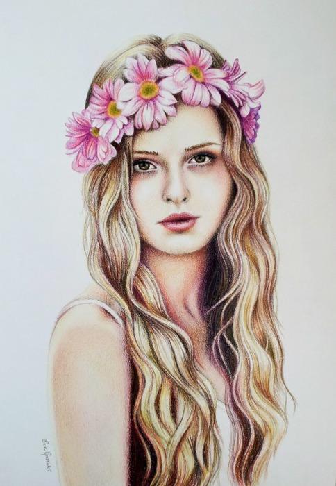 Рисунок девушка с венком