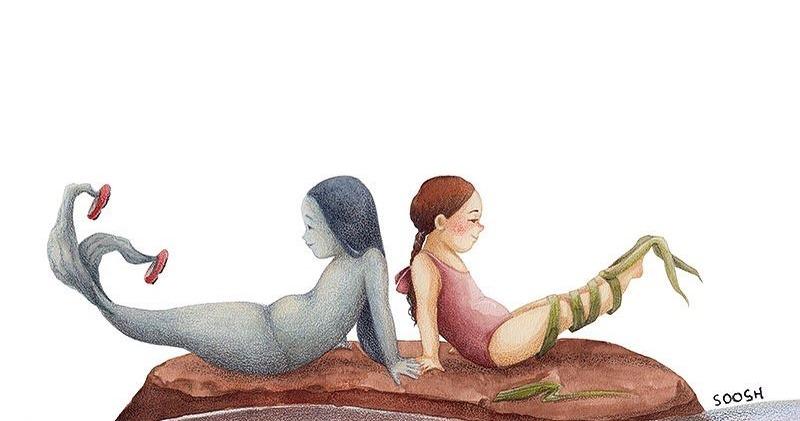 «Я мечтаю о хвостике, а ты — о ногах»: художница нарисовала трогательную историю дружбы девочки и русалки