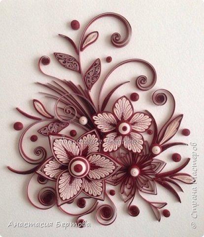 Картина панно рисунок Мастер-класс Квиллинг Фантазийный цветок Бумажные полосы Клей фото 25